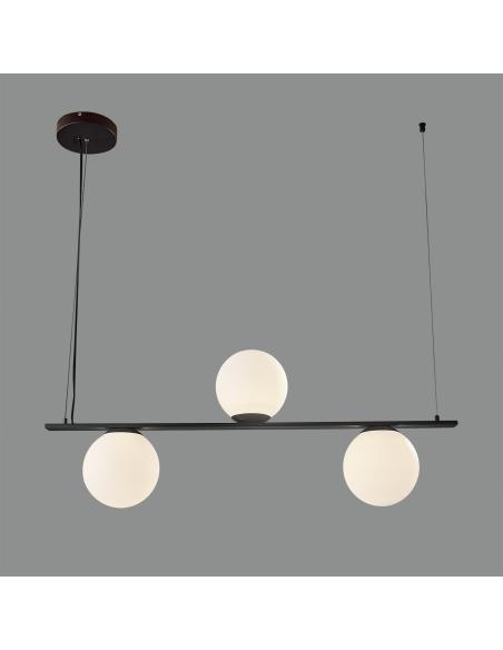 Kin 8169/3 Colgante Negro Texturado/Opal, LED 3x5W 3000K 1110lm, CL.I, LED integrado - Imagen 1