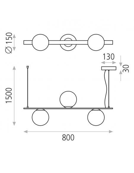 Kin 8169/3 Colgante Negro Texturado/Opal, LED 3x5W 3000K 1110lm, CL.I, LED integrado - Imagen 3